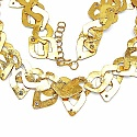 63.20 Grams Genuine White Topaz Gold Plated Brass Necklace
