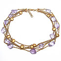 65.20 Grams Purple Glass Gold Plated Brass Necklace