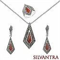 16.80 Grams Red Onyx & Marcasite .925 Sterling Silver Pendan