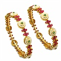 34.20 Grams Ruby, Pearl & Emerald Gold Plated Brass Bangles