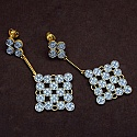 6.90 Grams White Cubic Zirconia Gold Plated Earrings