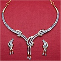 17.10 Grams White Cubic Zirconia Gold Plated Brass Necklace Set