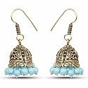 Brass Jhumki Earrings with Sky Blue Colored Beads
