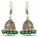 Brass Jhumki Earrings with Green Colored Beads