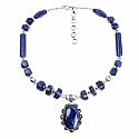 114.25 Grams Lapis Lazuli Oxidised Necklace Set