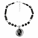 111.02 Grams Black Onyx Oxidised Necklace Set