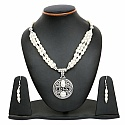 79.74 Grams White Synthetic Pearl Oxidised Necklace Set