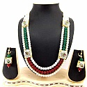 Aria Jewels Bridal Maroon Green Crystal Pearl Long Necklace