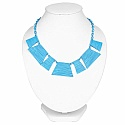 Blue Plated Chunky Fashion Necklace For Women