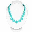 Turquoise Plated Floral Style Chunky Fashion Necklace Adorne