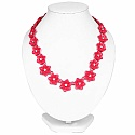 Pink Plated Floral Style Chunky Fashion Necklace Adorned wit