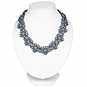 Gray Plated Chunky Fashion Necklace Adorned with White Stone