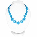 Blue Plated Floral Style Chunky Fashion Necklace Adorned wit