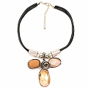 Two Tone Plated Leather Look Chunky Fashion Necklace Adorned