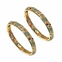 34.09 Grams Green & Maroon Enamel Gold Plated Brass Bangles