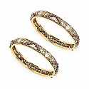 28.92 Grams Maroon Stone Brass Bangles