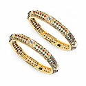 36.52 Grams Multistone Gold Plated Brass Bangles