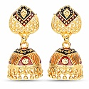 Traditional Doam Shape Gold Plated Meenakri Jhumki Earrings