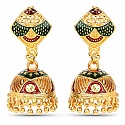 Traditional Gold Plated Meenakari Style Jhumki Earrings for
