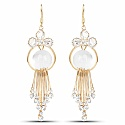 Gold Plated Fashion White Stone Studded Chandelier Earrings