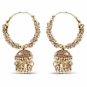 Traditional Gold Plated Indian Style Hoop Jhumki Earrings fo
