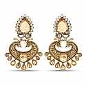 Gold Plated Fashionable Peacock Inspired Polki Dangle Earrin