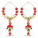 Indian Ethnic Gold Plated Red Thread Jhumki Hoop Earrings fo