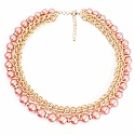 Gold Plated Princess Style Fashion Necklace Adorned Pink Pea