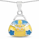 Plain .925 Sterling Silver Yellow & Turquoise Color Enamel H