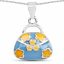 Plain .925 Sterling Silver Turquoise & Yellow Enamel Hand Ba