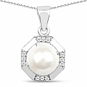 White Synthetic Pearl & White Cubic Zirconia .925 Sterling S