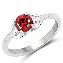 Red Cubic Zirconia .925 Sterling Silver Solitaire Ring