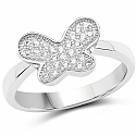 White Cubic Zirconia .925 Sterling Silver Butterfly Shape Ri