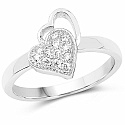 White Cubic Zirconia .925 Sterling Silver Heart Shape Ring