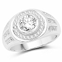 White Cubic Zirconia .925 Sterling Silver Round Shape Ring