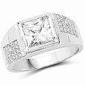 White Cubic Zirconia .925 Sterling Silver Square Shape Ring