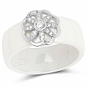 White Ceramic Floral Cubic Zirconia 925 Sterling Silver Ring