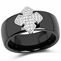 Black Ceramic Floral Cubic Zirconia 925 Sterling Silver Ring