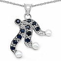 1.01CTW Genuine Pearl & Blue Sapphire .925 Sterling Silver Pend