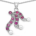 1.01CTW Genuine Pearl & Ruby .925 Sterling Silver Pendant