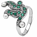 0.77CTW Genuine Pearl & Green Onyx .925 Sterling Silver Ring