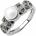 1.48CTW Genuine Pearl & Peridot .925 Sterling Silver Ring