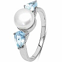 2.98CTW Genuine Blue Topaz & Pearl .925 Sterling Silver 3 Stone