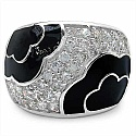 8.90 Grams White Cubic Zircon Black Enamel .925 Sterling Sil
