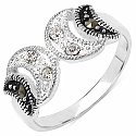 2.00 Grams Marcasite & White Cubic Zircon .925 Sterling Silver