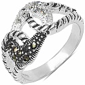4.20 Grams Marcasite & White Cubic Zircon .925 Sterling Silver