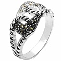 4.20 Grams Marcasite & White Cubic Zircon .925 Sterling Silv