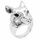 6.50 Grams Wolf Shape  .925 Sterling Silver Hollow Ring