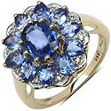 3.49CTW Genuine Blue Sapphire & Diamond 14K Yellow Gold Ring