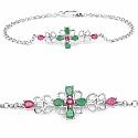 1.20CTW .925 Sterling Silver Ruby & Emerald Rakhi